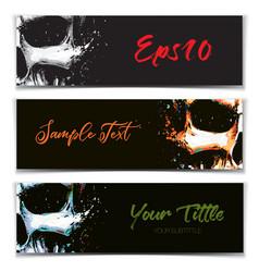 skull artistic splatter banners black orange vector image