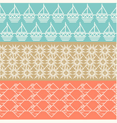 Vintage geometric horizontal seamless pattern set vector