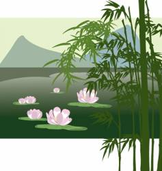 Asian lake with water lily vector image