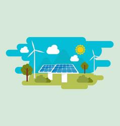 green eco energy flat design concept vector image vector image