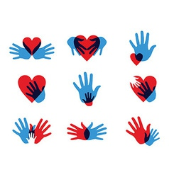 Multicolor diversity hands icons vector image