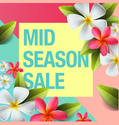 spring sale background banner with flowers vector image vector image