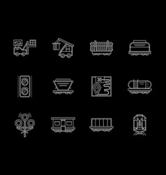 flat white line icons set for railroad vector image