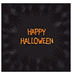 Halloween card design with zombie hands around vector image vector image