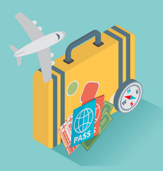 Isometric travel with airplane design concept vector