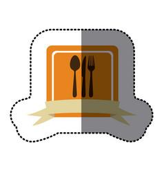 orange emblem cutlery tools icon vector image