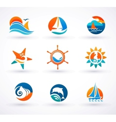 Set of nautical sea icons and symbols vector image