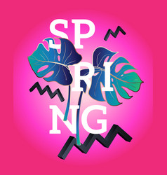 spring poster in the style of memphis vector image vector image