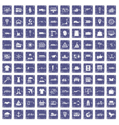 100 logistic and delivery icons set grunge vector image
