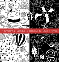 2 Seamless Patterns Christmas Black and White vector image