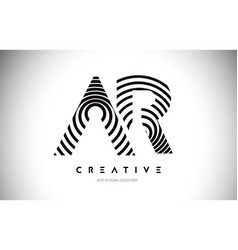 Ar lines warp logo design letter icon made vector