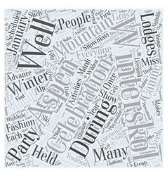 Aspen nightlife winterskol Word Cloud Concept vector