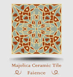 Azulejo ceramic tile in beige olive green and red vector