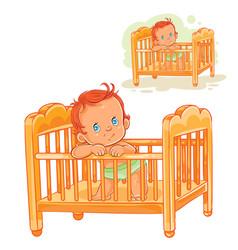 Baby is in his cot vector