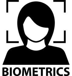 biometrics face recognition black symbol vector image