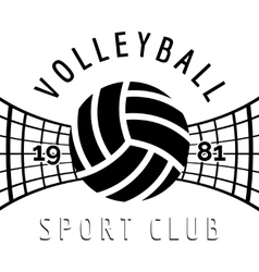 Black and white volleyball emblem vector