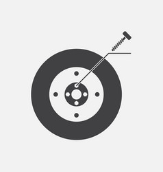 Black icon on white background wheel and screw vector