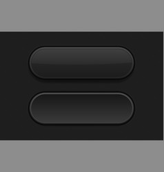 Black plastic buttons 3d oval signs vector