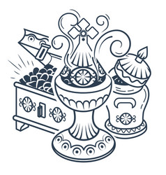 Black white traditional magi offerings vector