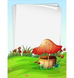 Blank paper with mushroom background vector image