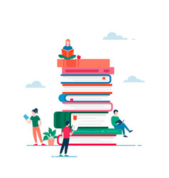 Book and people poster flat vector