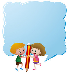 Border template with kids and giant pencil vector