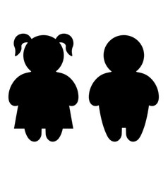 Boy and girl basic figure icons vector