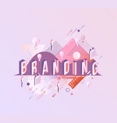 Branding isometric word design - letters vector