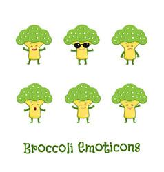 Broccoli smiles cute cartoon emoticons emoji vector