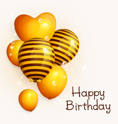 Bunch birthday yellow balloons with pattern vector