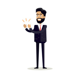 businessman clapping hands with happy face vector image