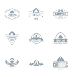 Camping logo set simple style vector