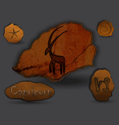 capricornzodiac in the form of cave painting vector image
