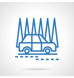 Car in a forest black line icon vector image