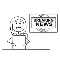 Cartoon of tv or television news woman or female vector