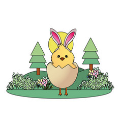 Chick with bunny ears vector