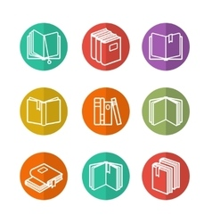 Colorful line books icons vector image