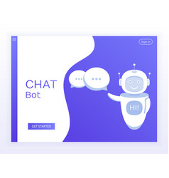 Concept website chat bot holds speech bubbles vector