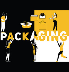 creative word concept packaging and people doing vector image