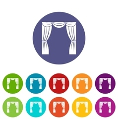Curtain on stage set icons vector image