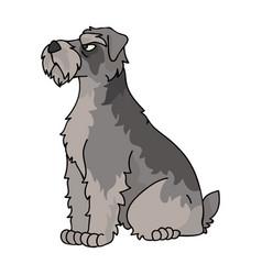 Cute cartoon schnauzer sitting dog clipart vector