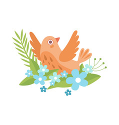 cute little orange bird flapping wings symbol of vector image