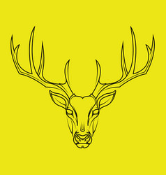 deer head hand drawn style on yellow background vector image vector image