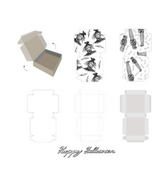 die cut paper carton boxes with halloween design vector image