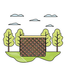 Doodle wood hamper object in the landscape with vector