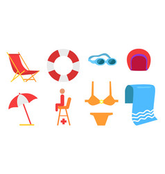 equipment for beach and swimming icon vector image