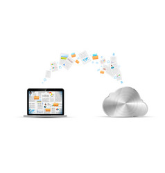 file transfer between laptop and cloud service vector image