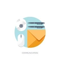 Flat communication background vector image