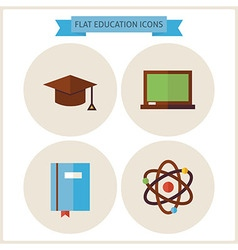 Flat Education Website Icons Set vector image