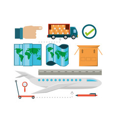 Flat set icon logistic shipping vector